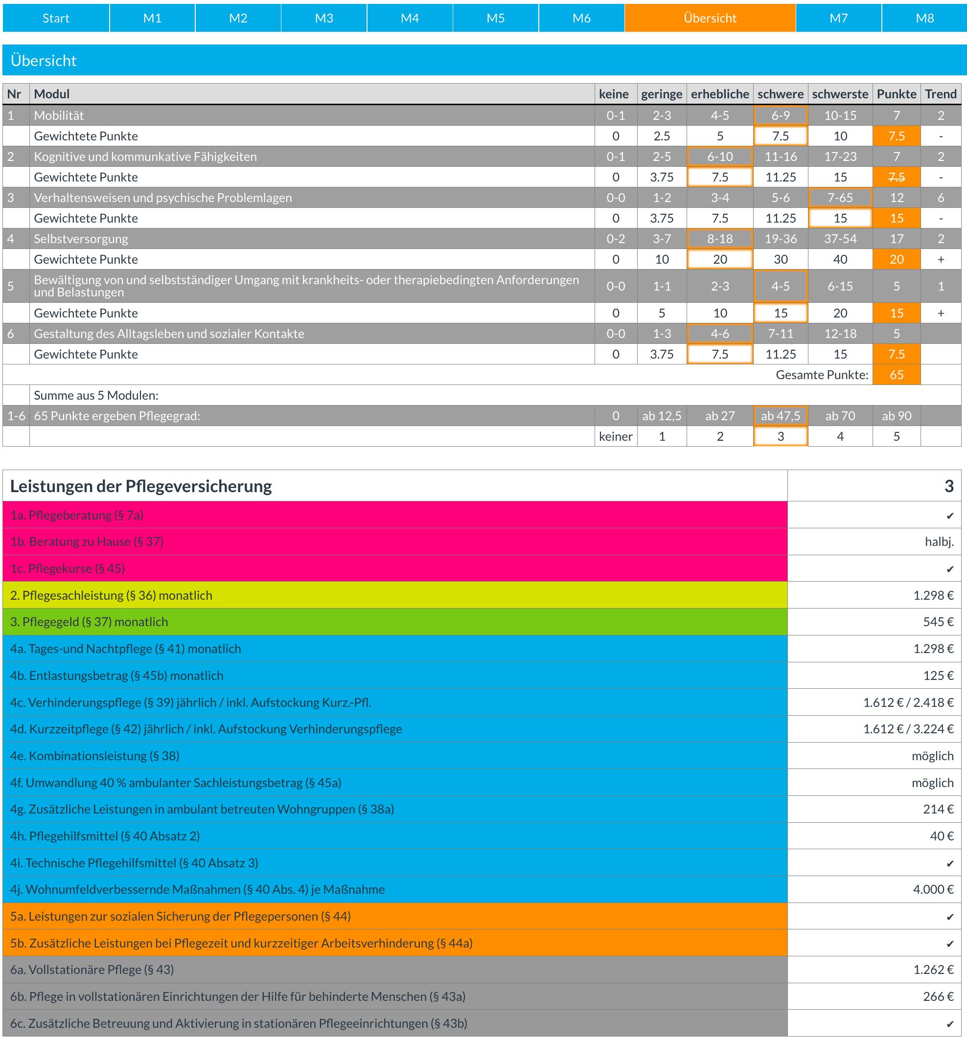Pflegegrad-Rechner. Ergebnis-Übersicht, Ausweisung des Pflegegrads und Leistungen  Pflegegrad