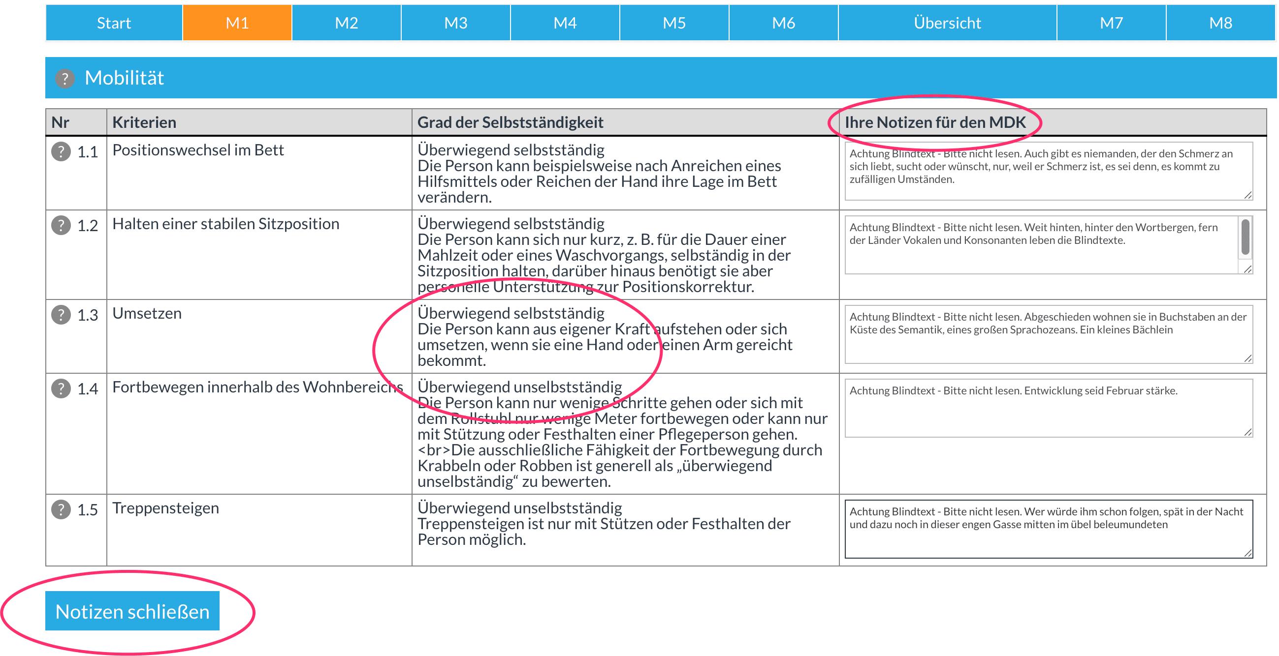 Kriterien-Infos im direkt Notiz-Kontext.