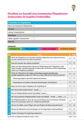 Checkliste ambulante Pflegedienste
